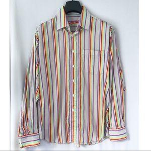 Bugatchi Uomo Striped Dress Shirt Embroidered Cuff
